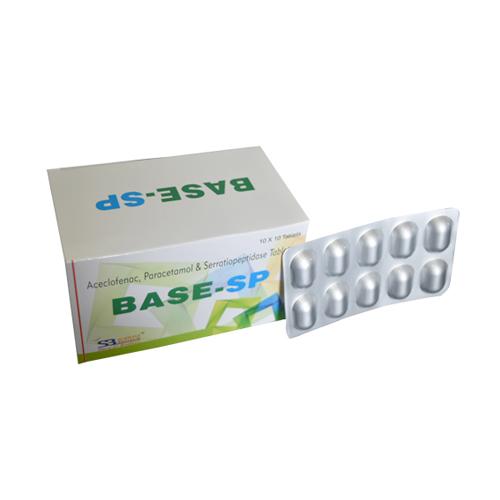 Aceclofenac 100 Mg + Paracetamol 325 Mg + Serratiopeptidase 15 Mg Tablets