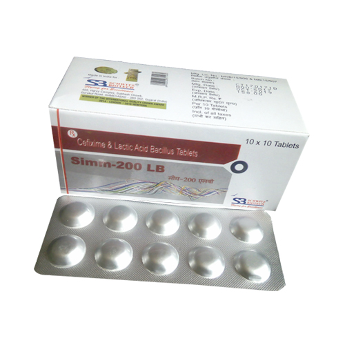Cefixime 200 Mg + Lactobacillus Species 60 Million Tablets